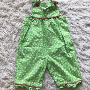 Vintage style green and white polka romper